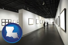 louisiana map icon and people viewing paintings in an art museum