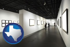 texas map icon and people viewing paintings in an art museum