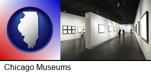 Chicago, Illinois - people viewing paintings in an art museum